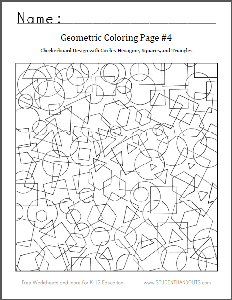 Checkerboard Shapes Coloring Page - Free to print (PDF file). Fun to color for ages six and up.
