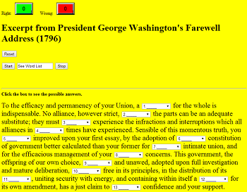 Gap Text Quiz Game on an Excerpt from President George Washington's Farewell Address (1796)