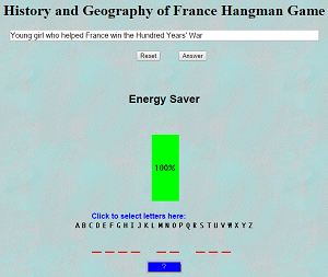 History and Geography of France Hangman Game