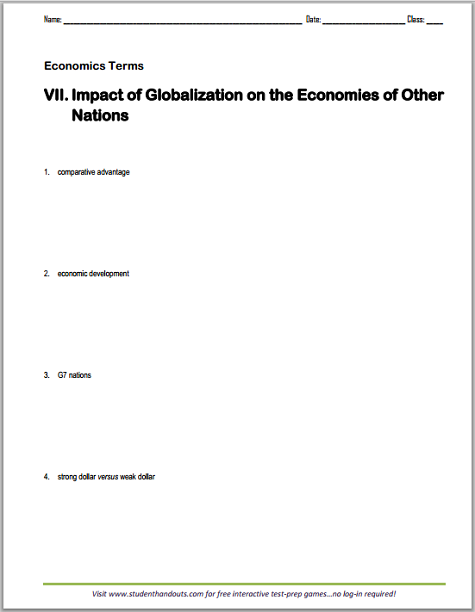Impact of Globalization on the Economics of Other Nations - Vocabulary terms worksheet is free to print (PDF file).