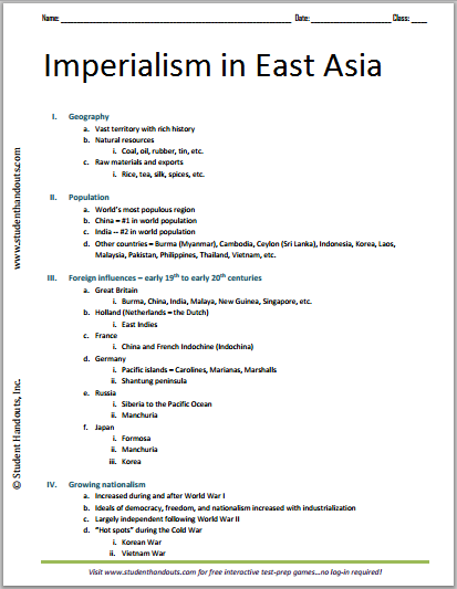 Imperialism in East Asia - Free Printable Outline for High School World History