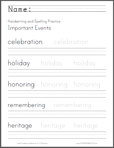 Important Events Handwriting and Spelling Practice Worksheet - Free to print (PDF file).