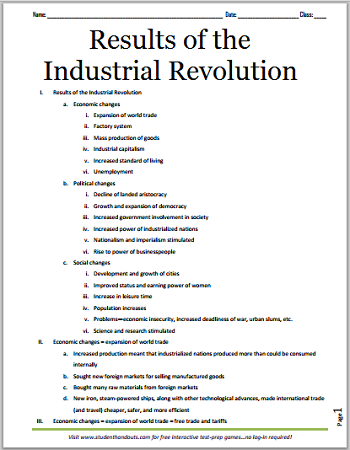 Results of the Industrial Revolution - Free printable outline for high school World History students.