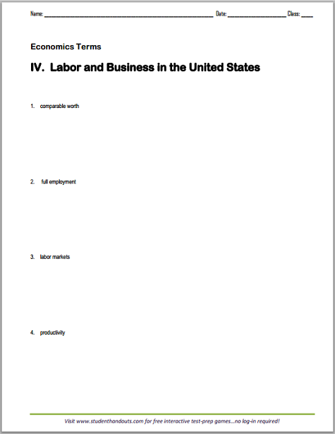 Economics Terms Worksheet: Labor and Business in the U.S. - Free to print (PDF file) for high school Economics students.