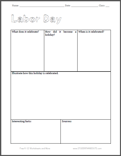 Labor Day Notebooking Page - Free to print (PDF file).