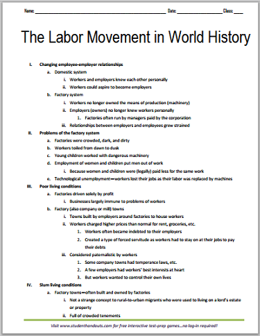 History of the Labor Movement - Free Printable Outline for High School World History Students