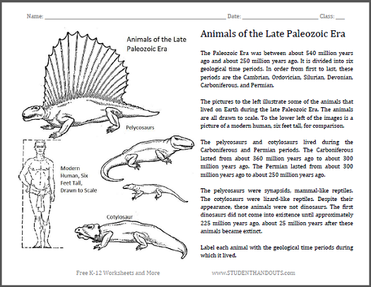 Animals of the Late Paleozoic - Free printable worksheet for elementary science students.