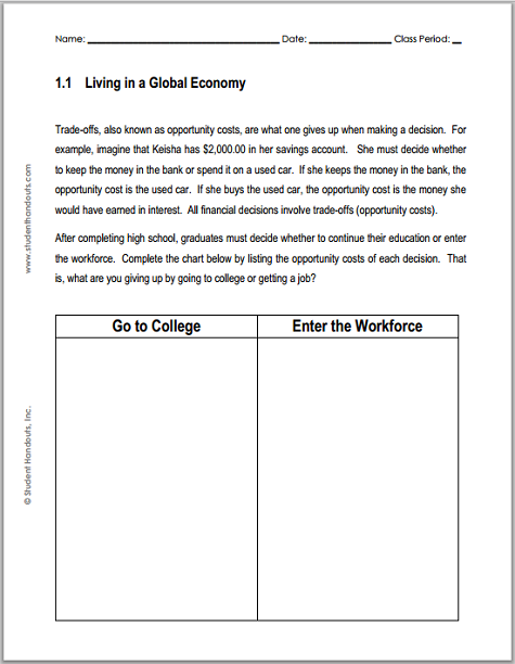 Living in a Global Economy Chart Worksheet - Free to print (PDF file) for high school Economics students.