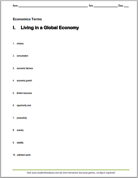 Living in a Global Economy Terms Worksheet - Free to print (PDF file) for high school Economics students.