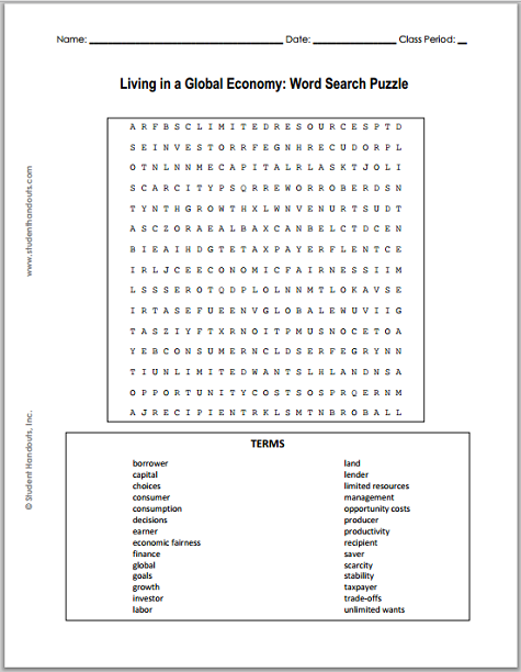 Living In A Global Economy Word Search Puzzle Student