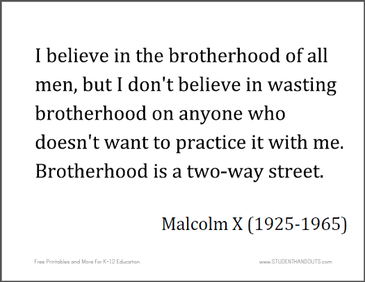 Malcolm X: I believe in the brotherhood of all men, but I don't believe in wasting brotherhood on anyone who doesn't want to practice it with me. Brotherhood is a two-way street.