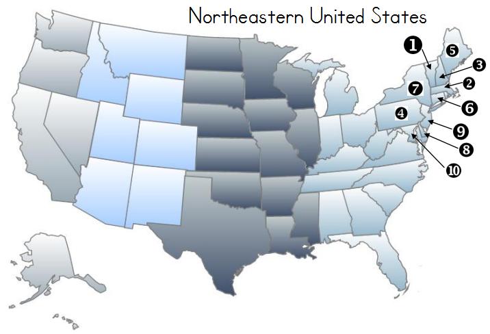 Northeastern United States Map Identification Quiz