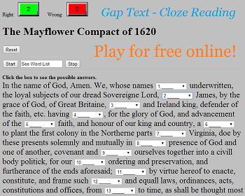 The Mayflower Compact of 1620 - Free Interactive Gap Text Quiz Game