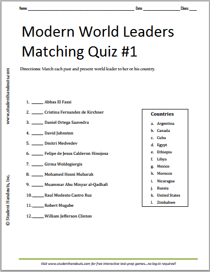 Modern World Leaders Matching Quiz #1 - Free to print (PDF file).