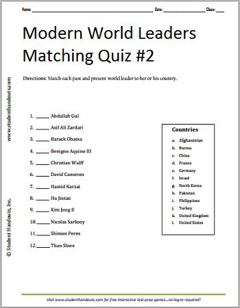 Modern World Leaders Quiz #2 - Free to print (PDF file).