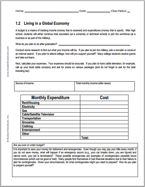 Monthly Budget Worksheet For Economics Student Handouts
