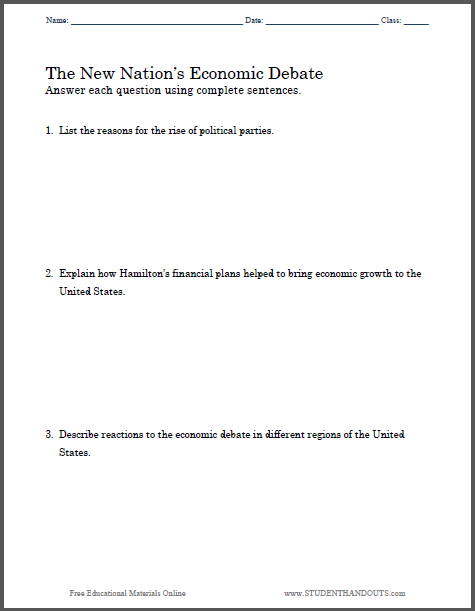 New Nation 39 S Economic Debate Essay Questions Student