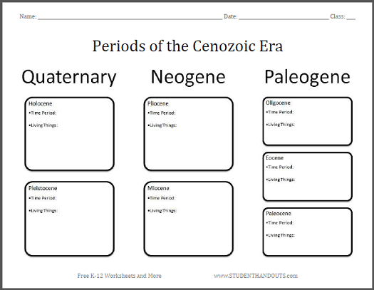 Periods of the Cenozoic Era - Chart worksheet is free to print (PDF file).