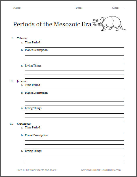 Periods of the Mesozoic Era - Free printable outline chart worksheet (PDF file).