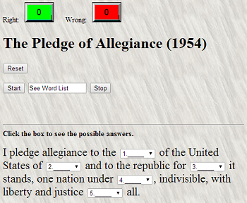 The Pledge of Allegiance (1954) - Free interactive gap text quiz game. Do you know the words?