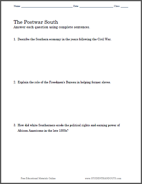 Postwar South Essay Questions - Free to print (PDF file) for high school American History students.