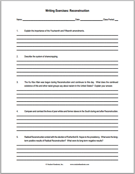 Reconstruction Essay Questions - Free to print (PDF file) for United States History students.