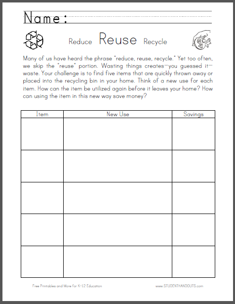 Reduce, Reuse, Recycle Worksheet for Thrift Week - Free to print (PDF file).