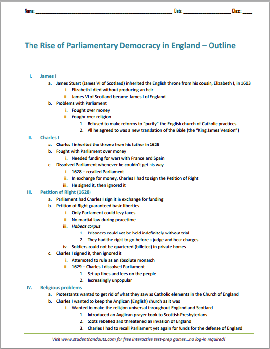 The Rise of Parliamentary Democracy in England - Free Printable Outline (PDF File)