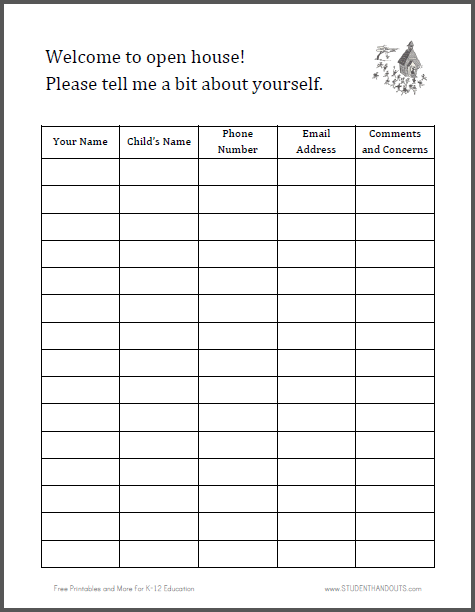 graphic about Printable Open House Sign in Sheets titled Printable Indication-in just Sheet for Open up Room Pupil Handouts