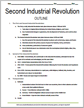 Second Industrial Revolution - Free printable outline (PDF file) for high school World History students.