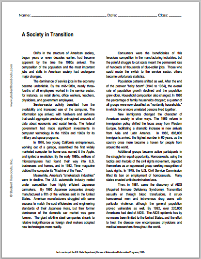 A Society in Transition - Printable reading with questions for high school United States History classes. Free to print (PDF file).
