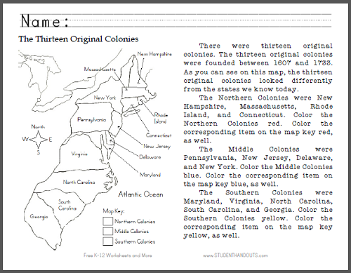 Thirteen Original Colonies Map Worksheet | Student Handouts