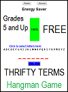 Thrifty Terms Hangman Game for Grades 5 and Up
