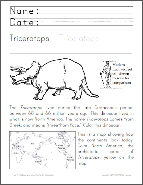 triceratops coloring worksheet student handouts. Black Bedroom Furniture Sets. Home Design Ideas