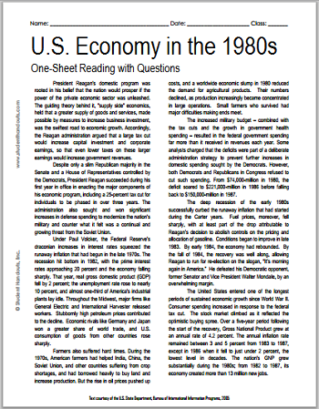 U.S. Economy in the 1980s - Free printable reading with questions for high school United States History students.