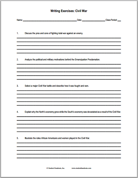 Shocking image within civil war printable worksheets