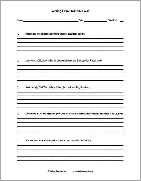 U S Civil War Writing Exercises Worksheet Student Handouts