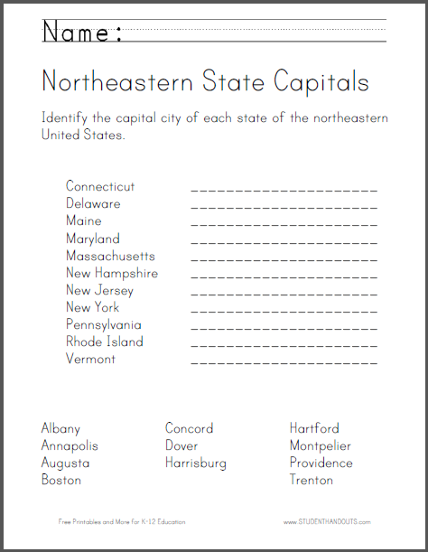 Amazing image regarding state capitals quiz printable