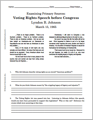 Voting Rights Speech before Congress Lyndon B. Johnson - March 15, 1965: Free Printable DBQ: Document-based Questions Worksheet