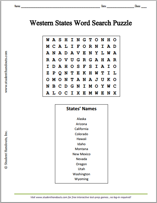Western States Word Search Puzzle - Free to print (PDF file).