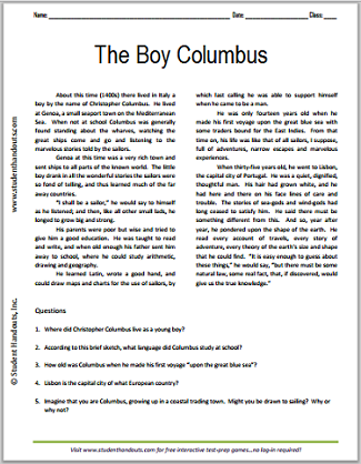 The Boy Columbus - Free printable reading with questions for upper elementary students.