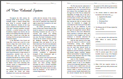 A New Colonial System - Free printable reading with questions for U.S. History students.