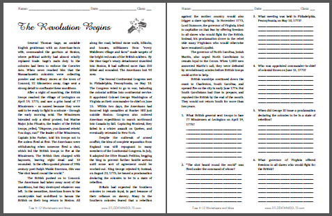The American Revolution Begins - Free printable reading with questions.