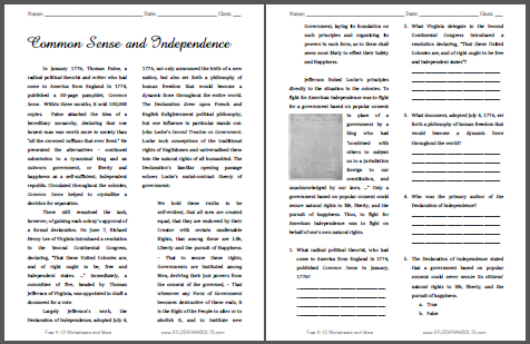 Common Sense And Independence Reading With Questions Student Handouts