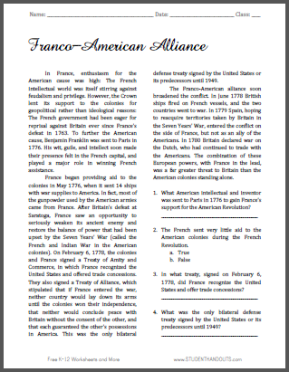 Franco-American Alliance - Free printable reading with questions on the American Revolution.