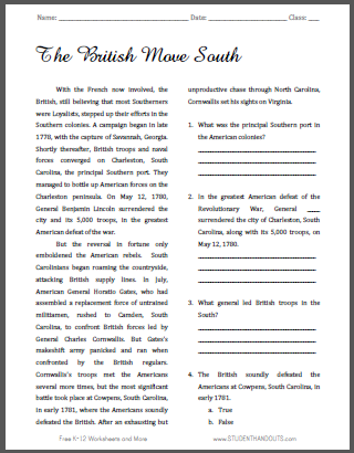 The British Move South - Free printable reading with questions on the American Revolution.