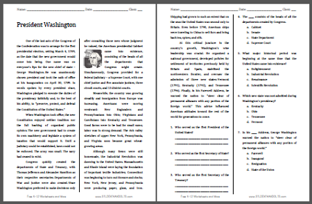 President Washington - American History reading with questions for high school (PDF file).