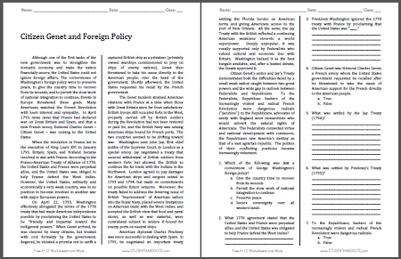 Citizen Genet & Foreign Policy - Free printable reading with questions worksheet (PDF file) for high school United States History students.