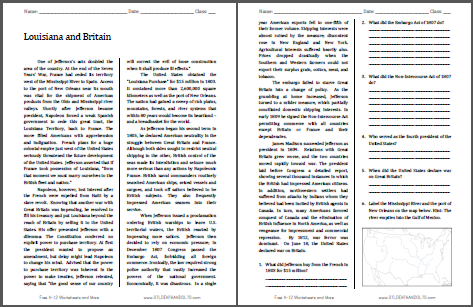Louisiana and Britain - Reading with questions for high school United States History students. Free to print (PDF file).