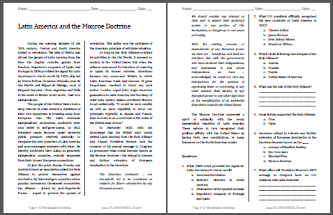 Latin America and the Monroe Doctrine - Free printable reading with questions (PDF file) for high school United States History students.